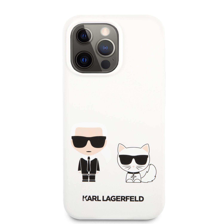 Silikonové pouzdro Karl Lagerfeld and Choupette Liquid KLHCP13SSSKCW pro Apple iPhone 13 mini, bílá