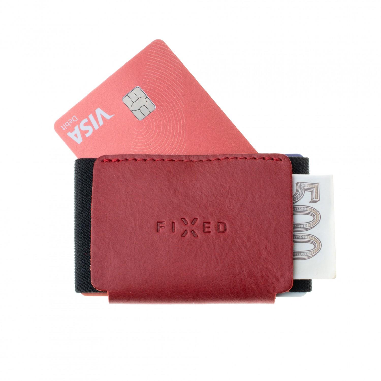 Kožená peněženka FIXED Tiny Wallet for AirTag z pravé hovězí kůže, červená