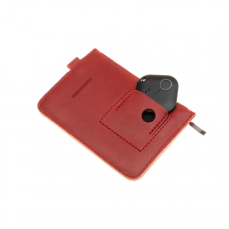 Kožená peněženka FIXED Smile Coins se smart trackerem FIXED Smile Pro, červená