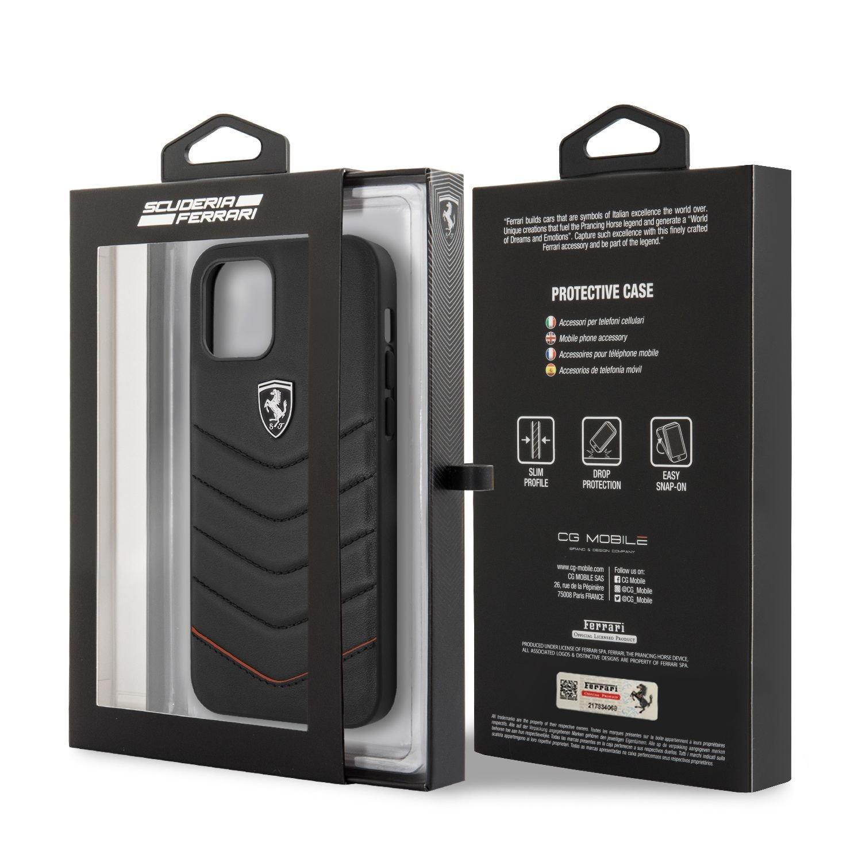 Ochranný kryt Ferrari Off Track Leather Quilted FEHQUHCP12LBK pro Apple iPhone 12 Pro Max, černá
