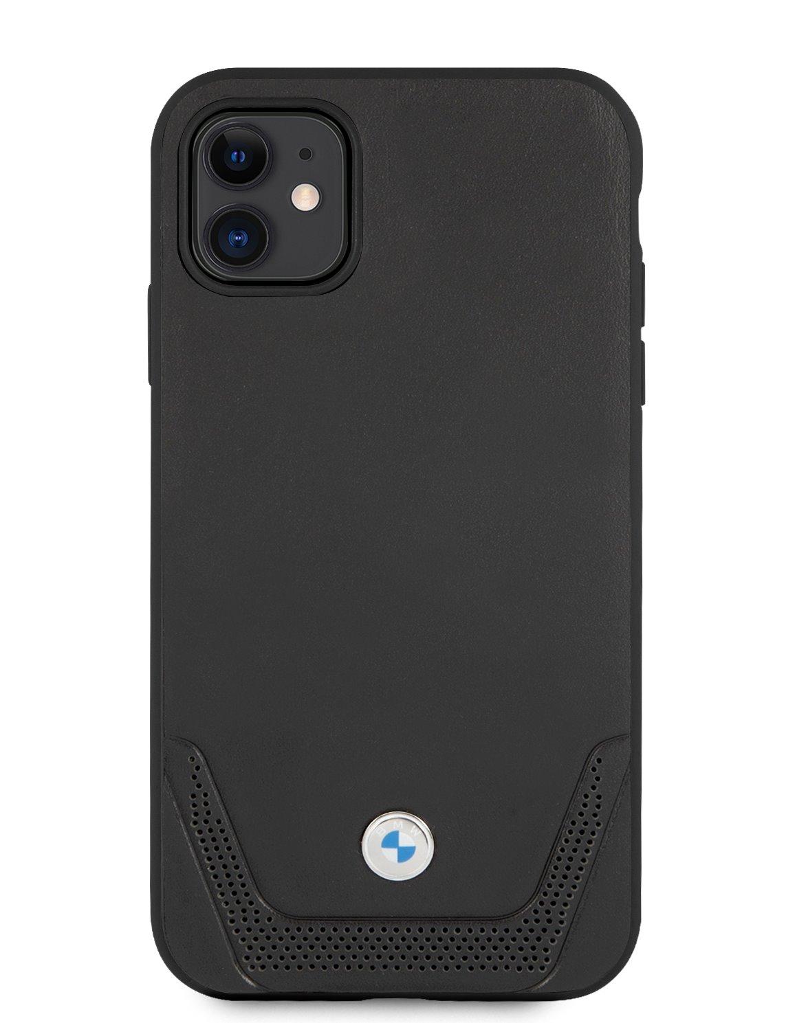 Ochranný kryt BMW Signature Leather Lower BMHCN61RSWPK Stripe pro Apple iPhone 11, černá