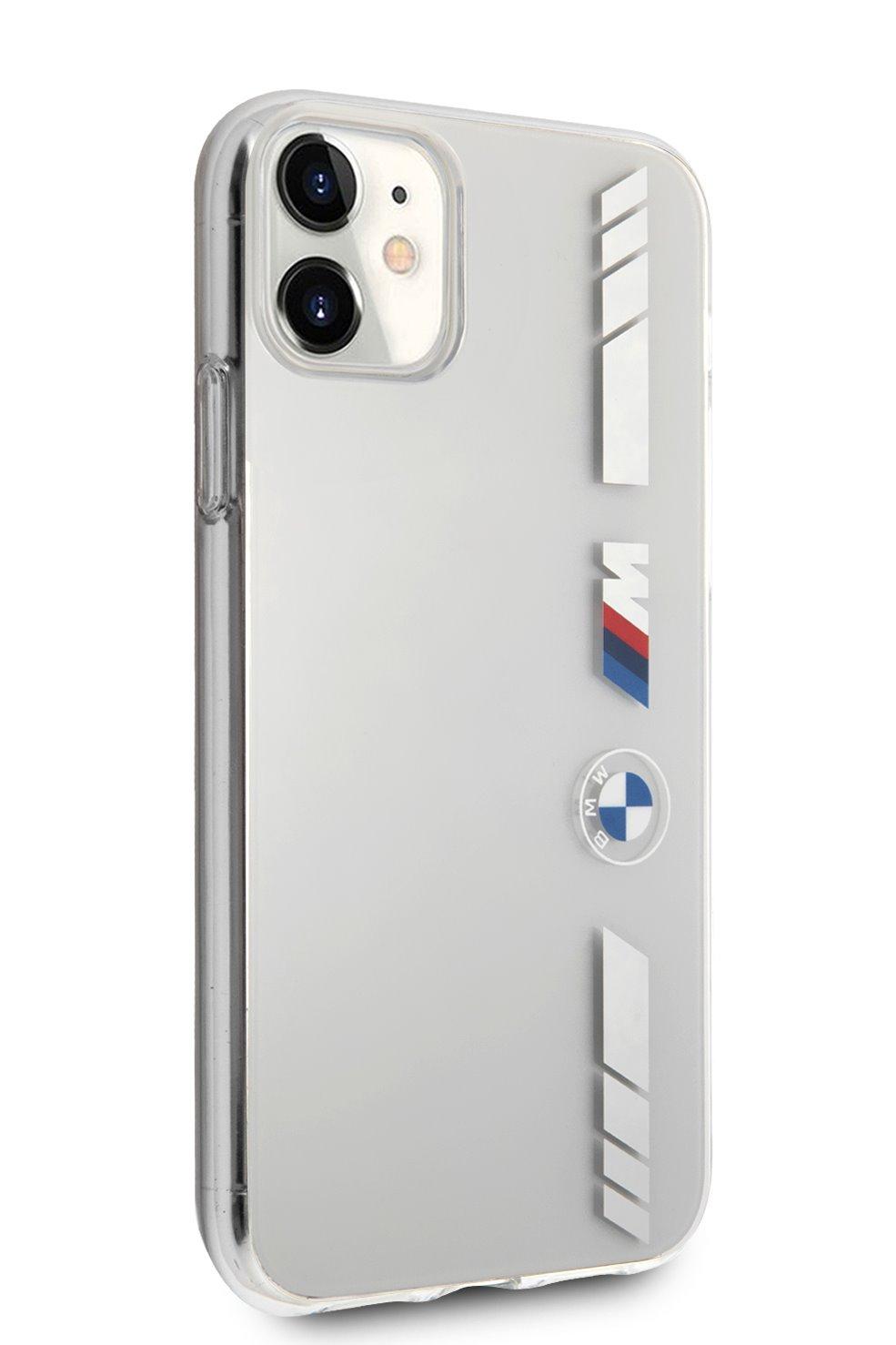 Ochranný kryt BMW M PC/TPU Silver Stripes BMHCN61MKTSS pro Apple iPhone 11, transparentní