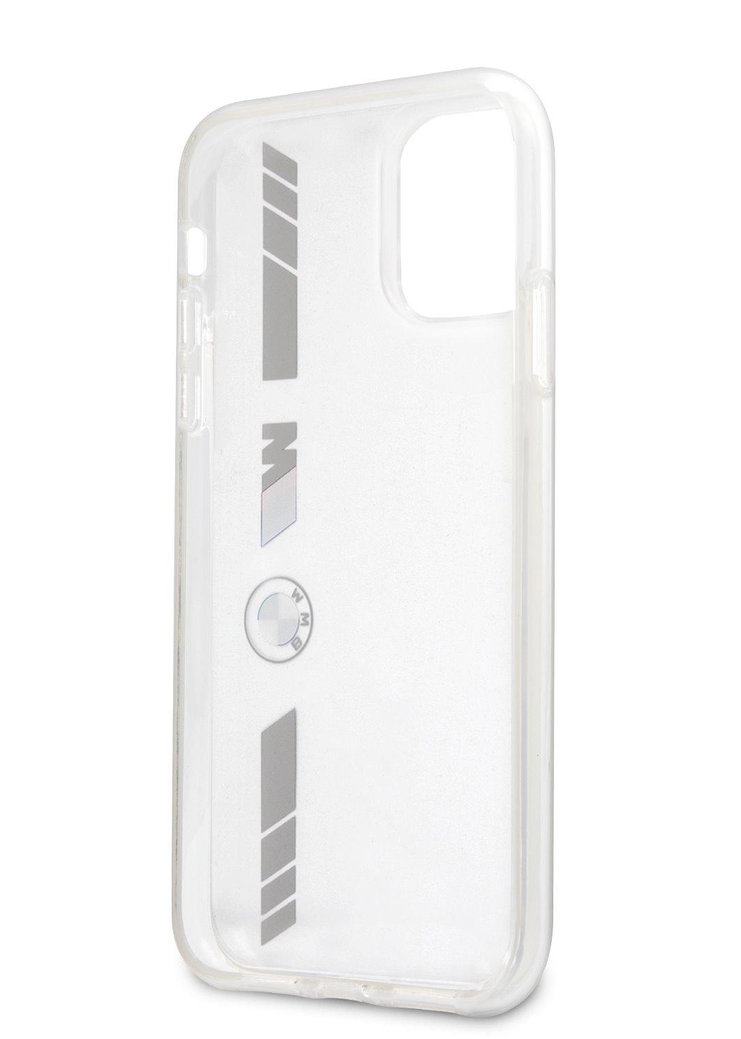 Ochranný kryt BMW M PC/TPU Silver Stripes BMHCP12MMKTSS pro Apple iPhone 12/12 Pro, transparentní