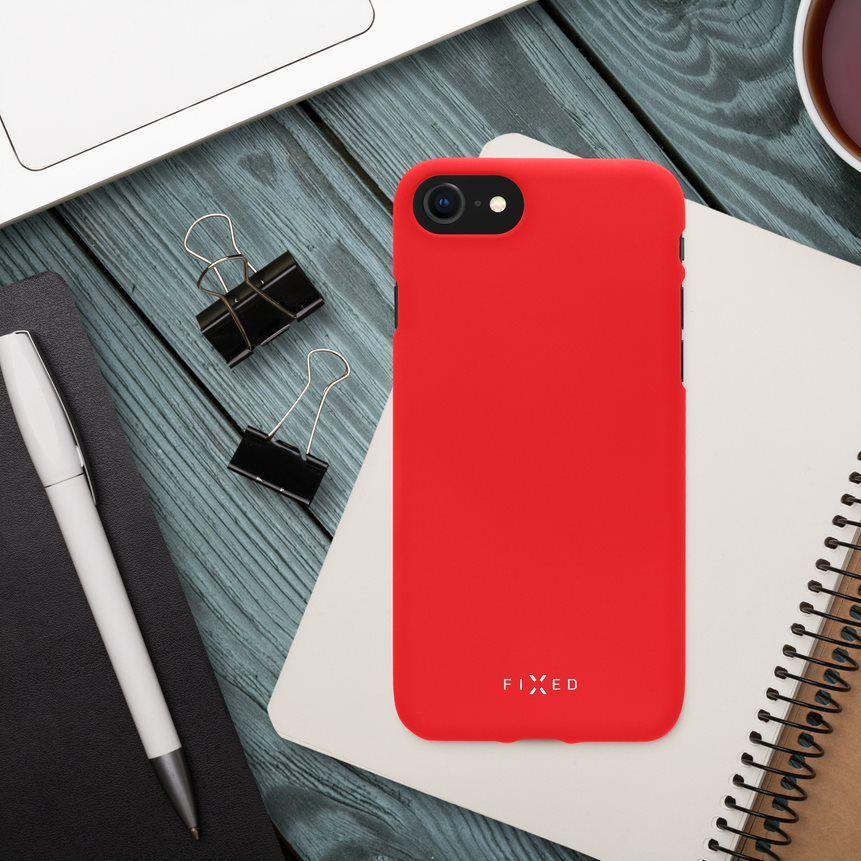 Zadní pogumovaný kryt FIXED Story pro Samsung Galaxy S21 FE, červená