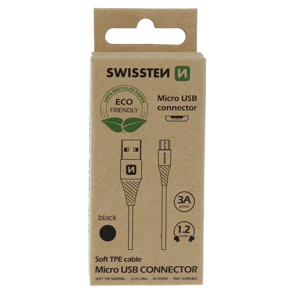 Datový kabel Swissten USB/Micro USB, 1,2m, černá