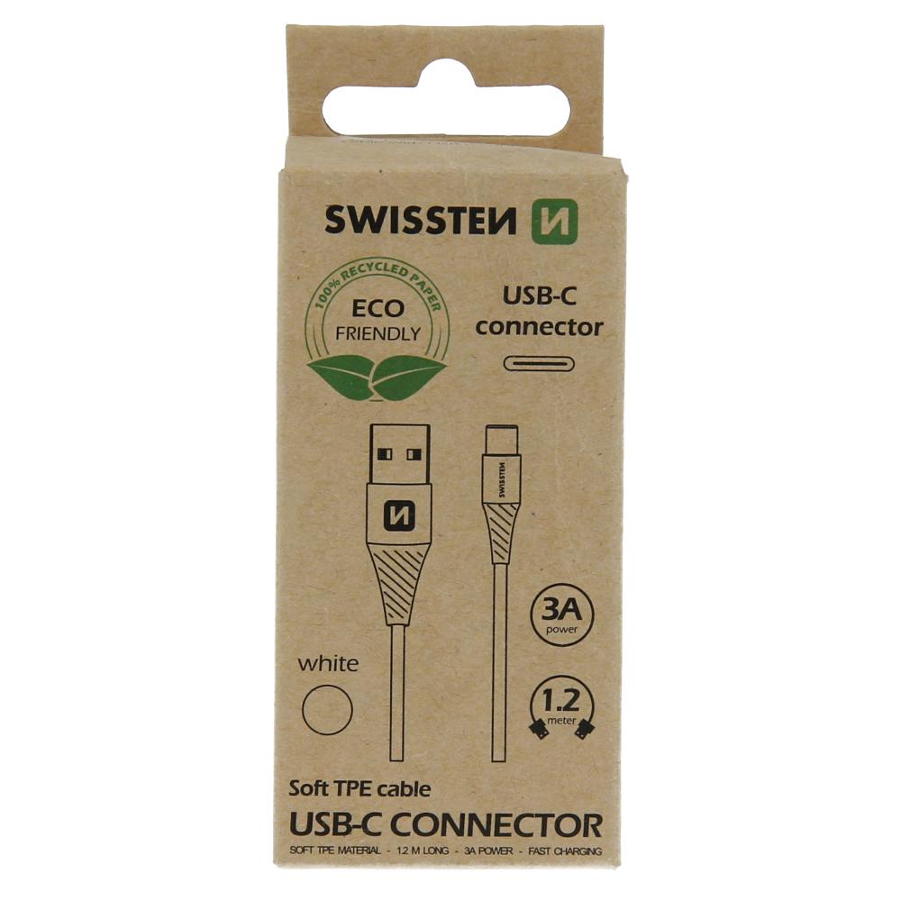 Datový kabel Swissten USB/USB-C, 1,2m, bílá