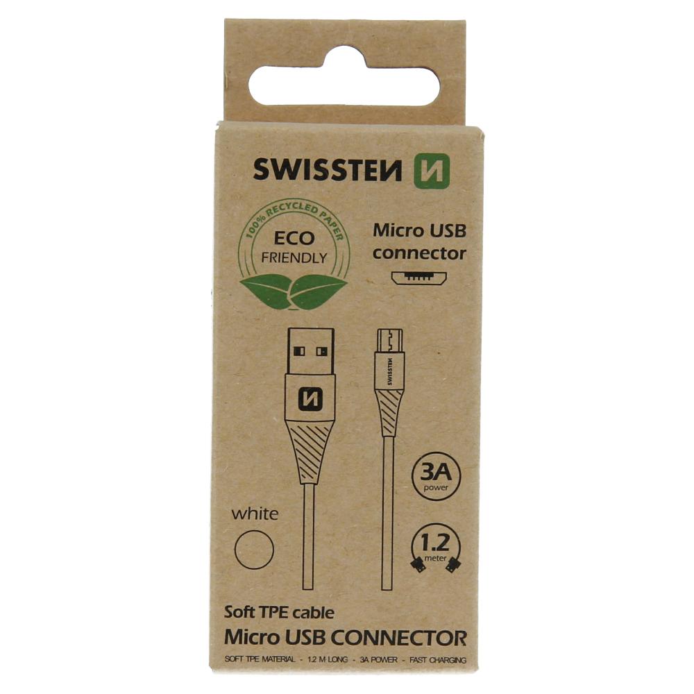 Datový kabel Swissten USB/USB Mirco USB, 1,2M, bílá