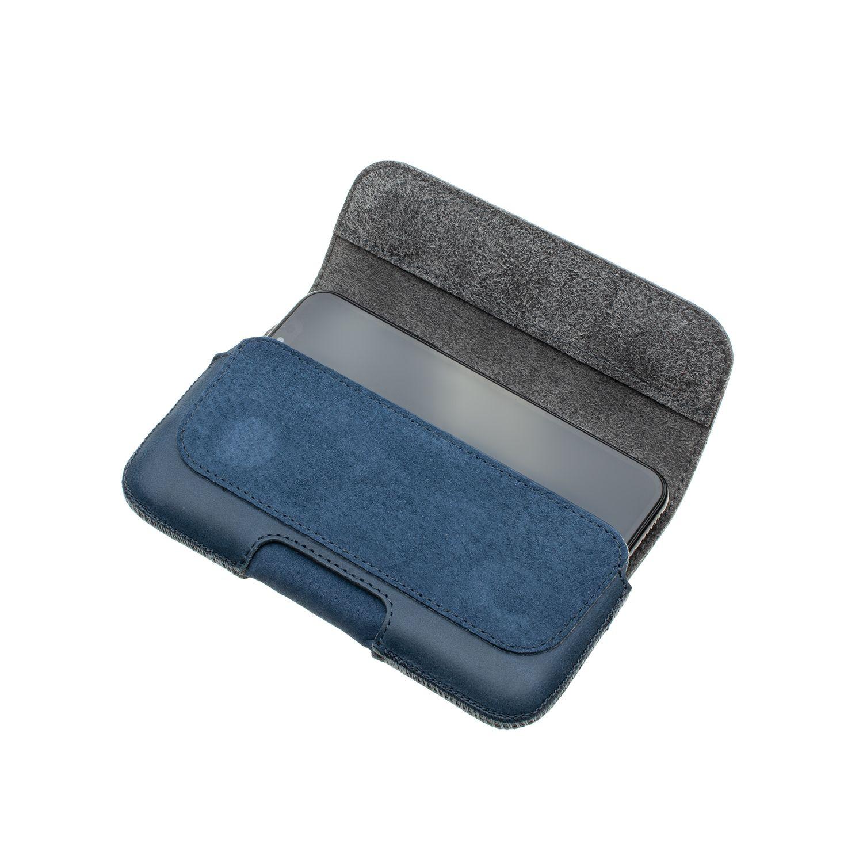 Horizontálne kožené puzdro FIXED Posh so zatváraním veľkosť 6XL +, modrá