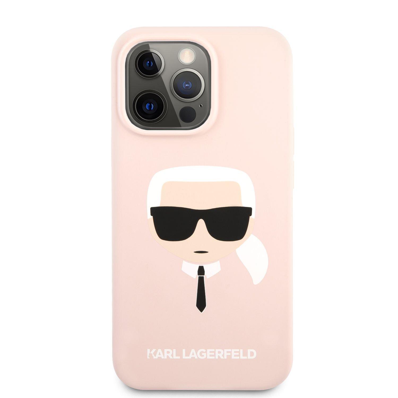Zadní kryt Karl Lagerfeld Liquid Silicone Karl Head KLHCP13XSLKHP pro Apple iPhone 13 Pro Max, růžová