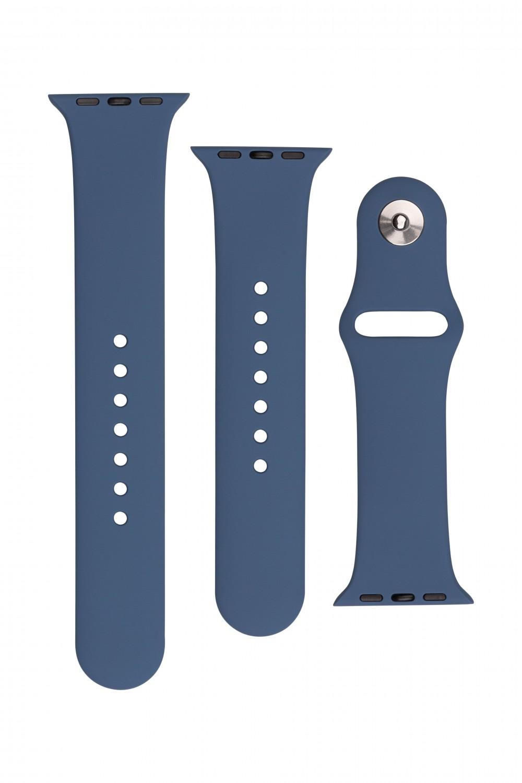 Set silikonových řemínků FIXED Silicone Strap pro Apple Watch 42/44/45 mm, kovově modrá