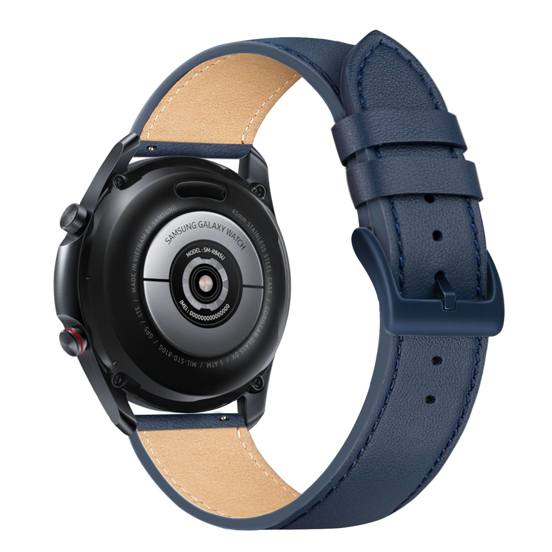 Kožený řemínek FIXED Leather Strap s šířkou 22mm pro smartwatch, modrá