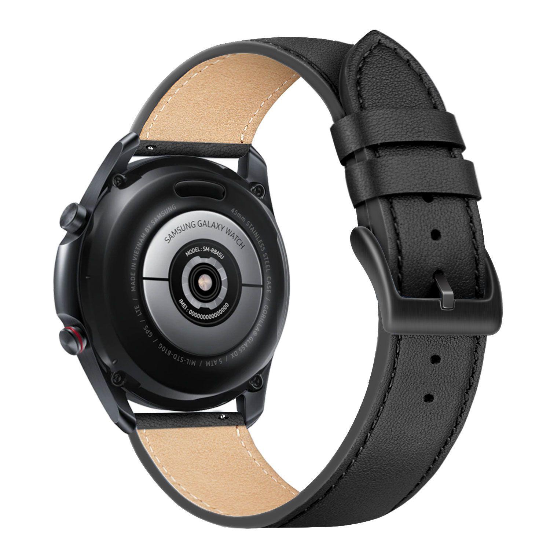 Kožený řemínek FIXED Leather Strap s šířkou 22mm pro smartwatch, černá