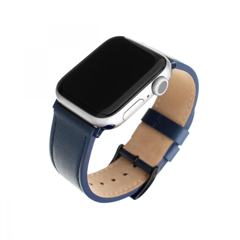 Kožený řemínek FIXED Leather Strap pro Apple Watch 42mm/44mm, modrá