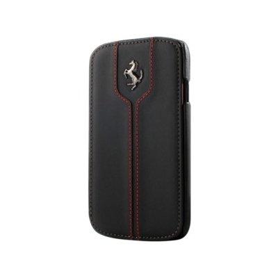 Kožené pouzdro Ferrari pro Samsuing Galaxy S4 Mini, černá
