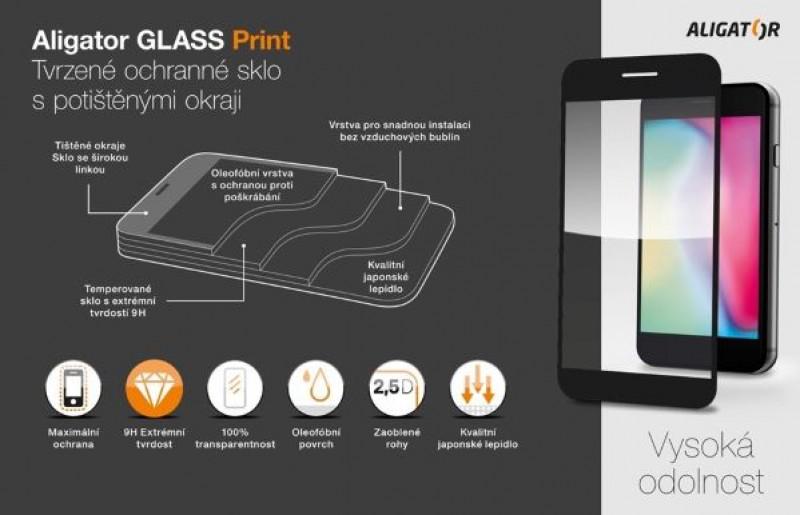 Ochranné tvrzené sklo ALIGATOR PRINT pro Apple iPhone 13/13 Pro, černá