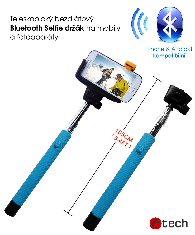 Teleskopický selfie držiak bluetooth spúšť modrá