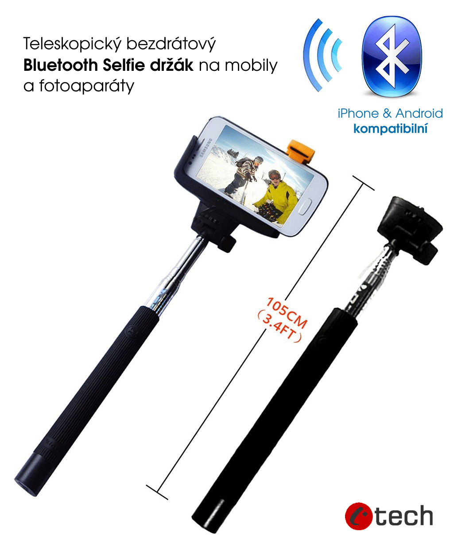 Teleskopický selfie držák bluetooth spoušť, černý