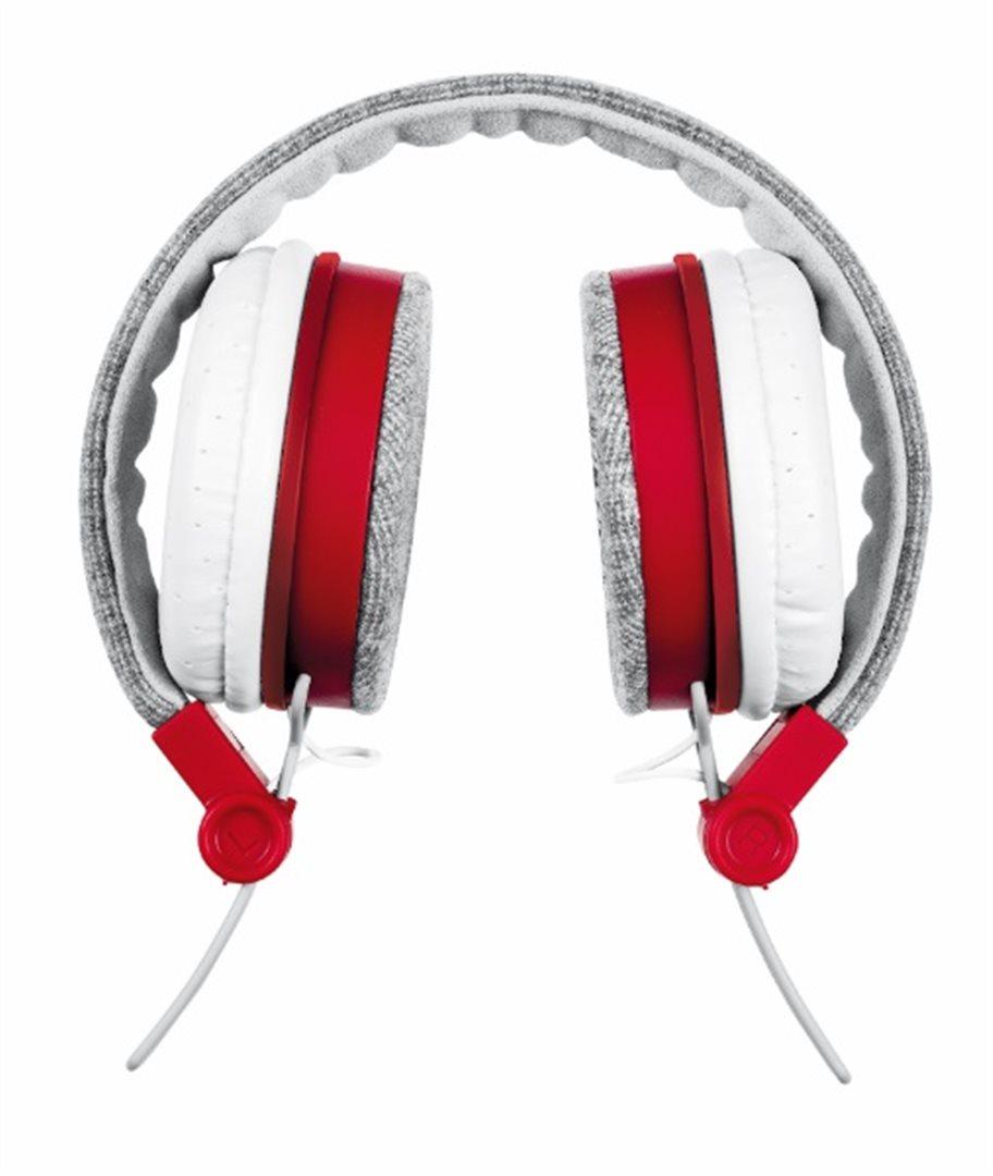 Stylová sluchátka TRUST Urban Fyber šedo-červené
