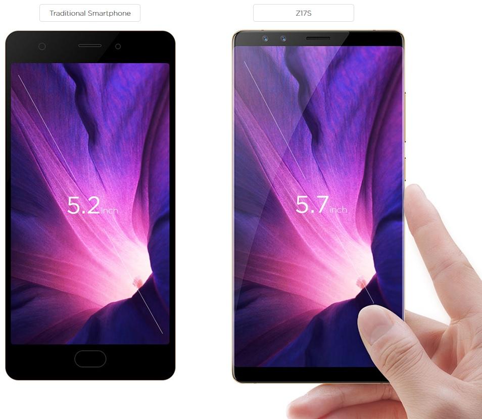 Porovnání displeje mobilního telefonu Mobilní telefon Nubia Z17s s klasickým smartphonem