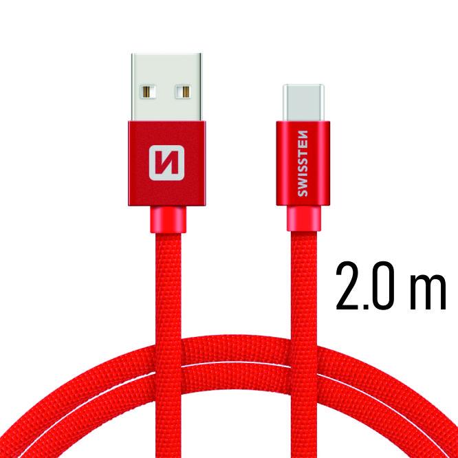 Dátový kábel Swissten Textile USB / USB C 2 M, red