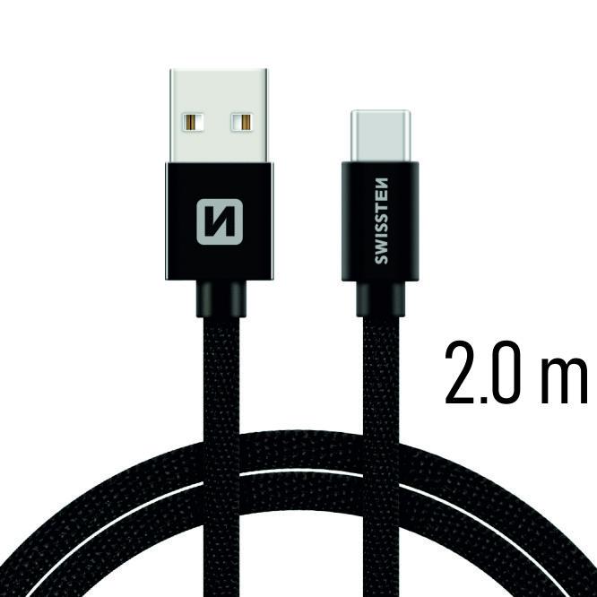 Dátový kábel Swissten Textile USB / USB C 2 M, black