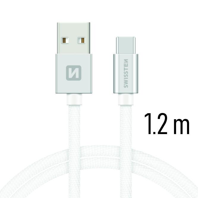 Dátový kábel Swissten Textile USB / USB C 1,2 M, silver