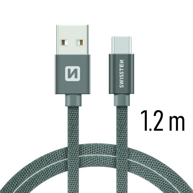 Dátový kábel Swissten Textile USB / USB C 1,2 M, grey