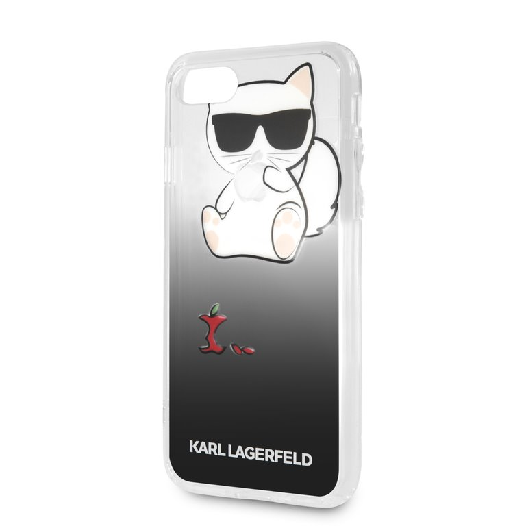 Silikonové pouzdro Karl Lagerfeld Fun Eaten Apple Hard Case na iPhone 8 Plus,black