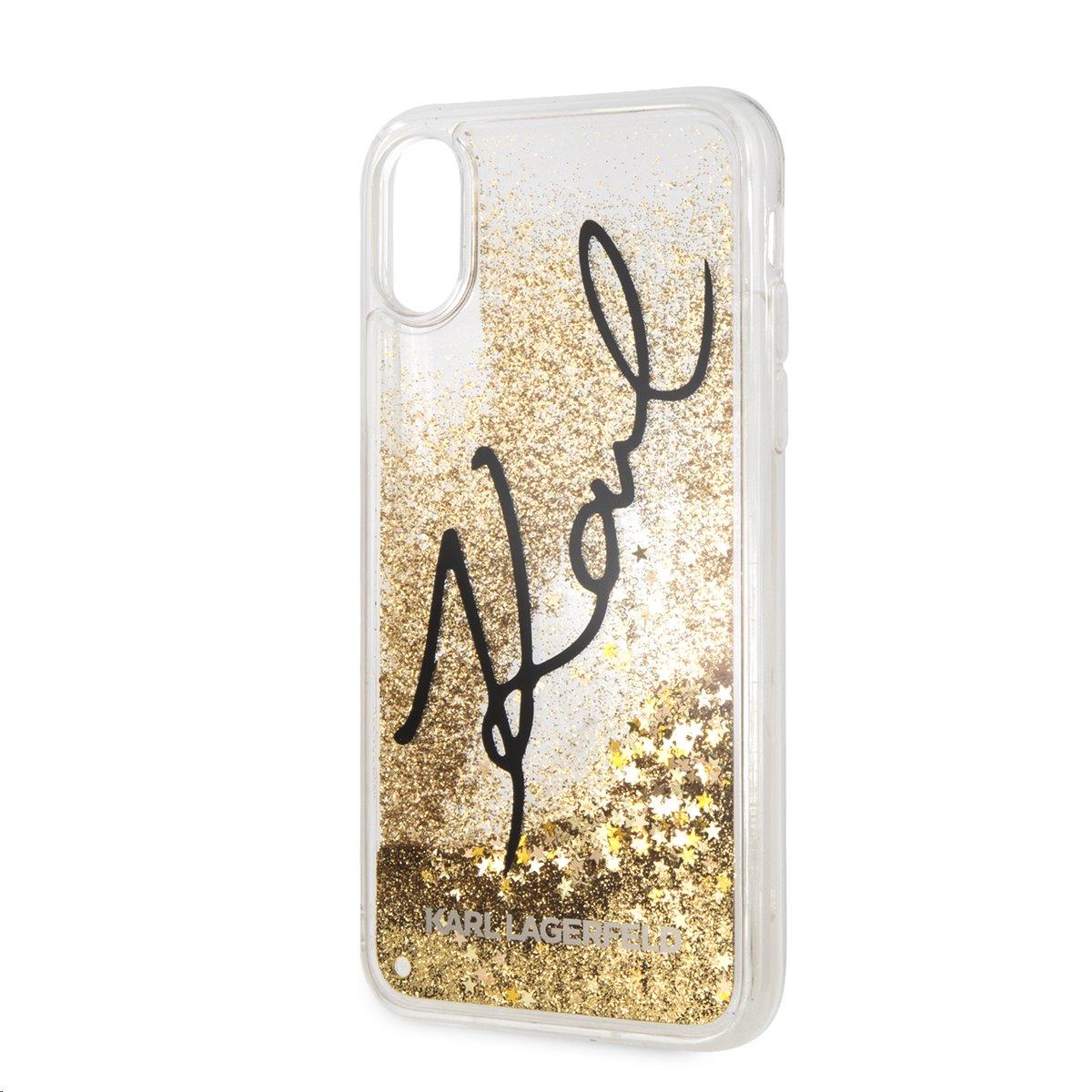 Silikonové pouzdro Karl Lagerfeld Signature Case Glitter Star na iPhone X,gold