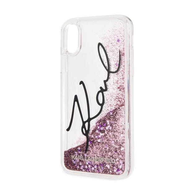 Silikonové pouzdro Karl Lagerfeld Signature Case Glitter Star na iPhone XS Max,pink