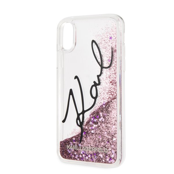 Silikonové pouzdro Karl Lagerfeld Signature Case Glitter Star na iPhone XR,pink