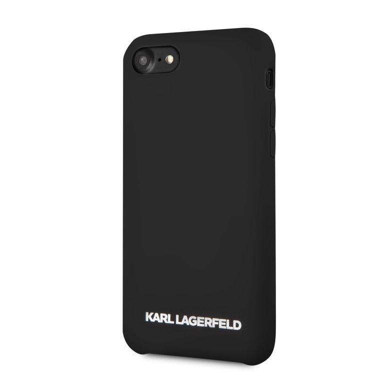 Silikonové pouzdro Karl Lagerfeld Silver Logo Silicone Case na iPhone 7/8,black