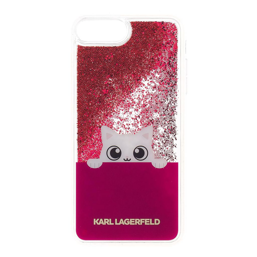 Silikonové pouzdro Karl Lagerfeld Peek a Boo Case Glitter na Phone 7/8 Plus,Fuchsia