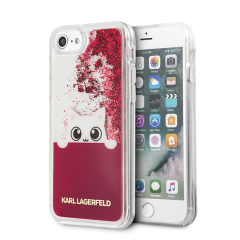 Silikonové pouzdro Karl Lagerfeld Peek a Boo Case Glitter na iPhone 7/8, Fuchsia