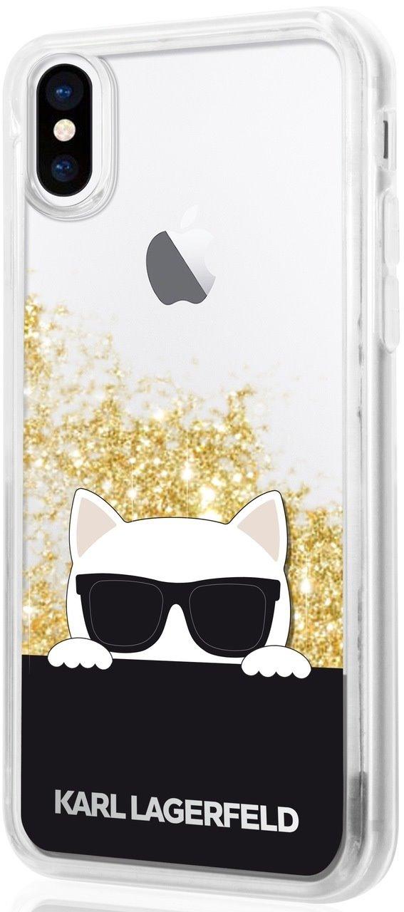 Silikonové pouzdro Karl Lagerfeld Choupette Sunglass na iPhone X / XS, Gold