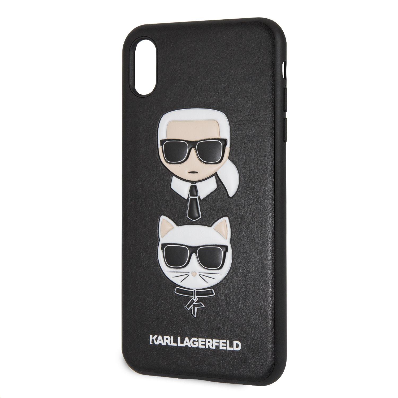Silikonové pouzdro Karl Lagerfeld Karl and Choupette Hard na iPhone XS Max, Black