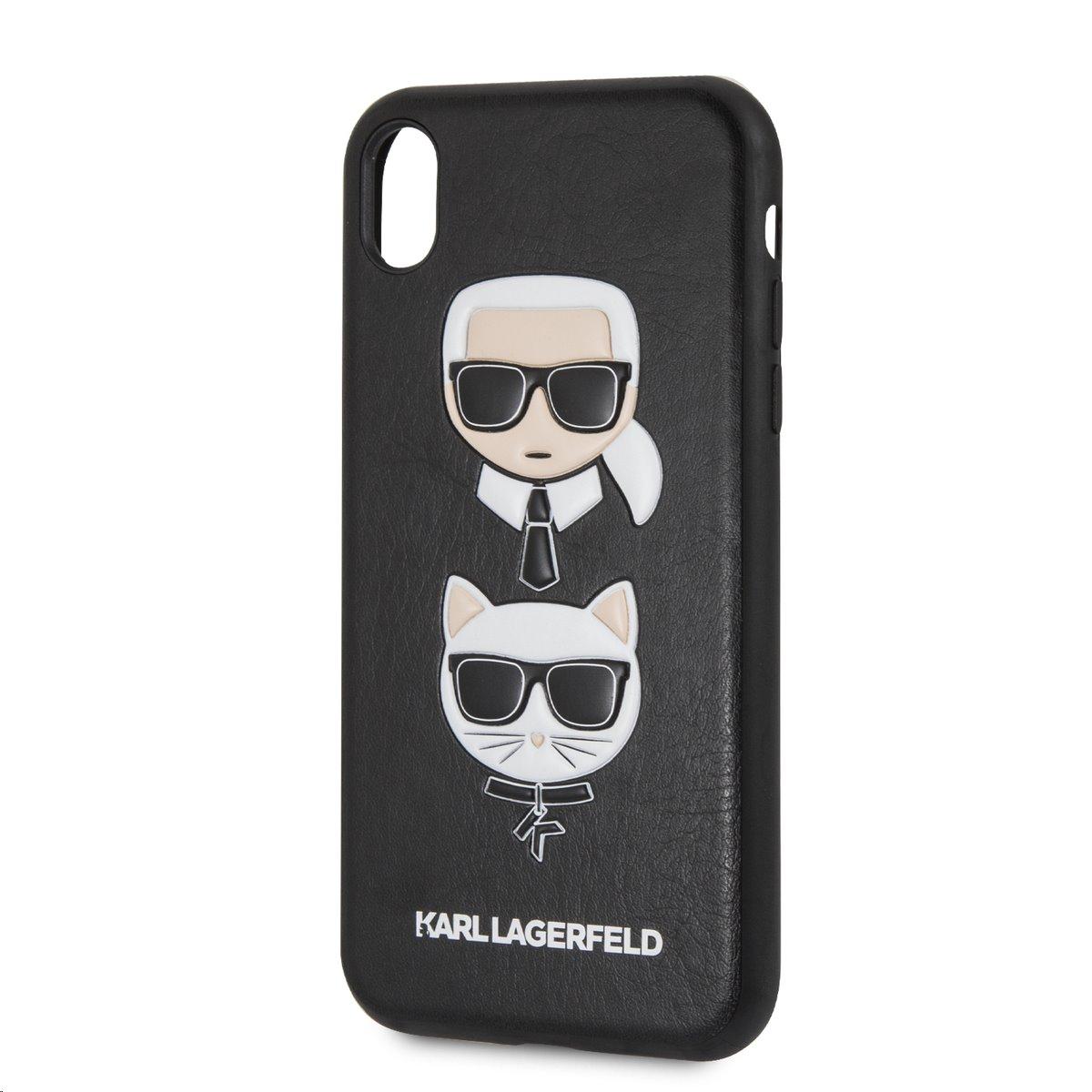 Silikonové pouzdro Karl Lagerfeld Karl and Choupette Hard Case na iPhone XR, Black