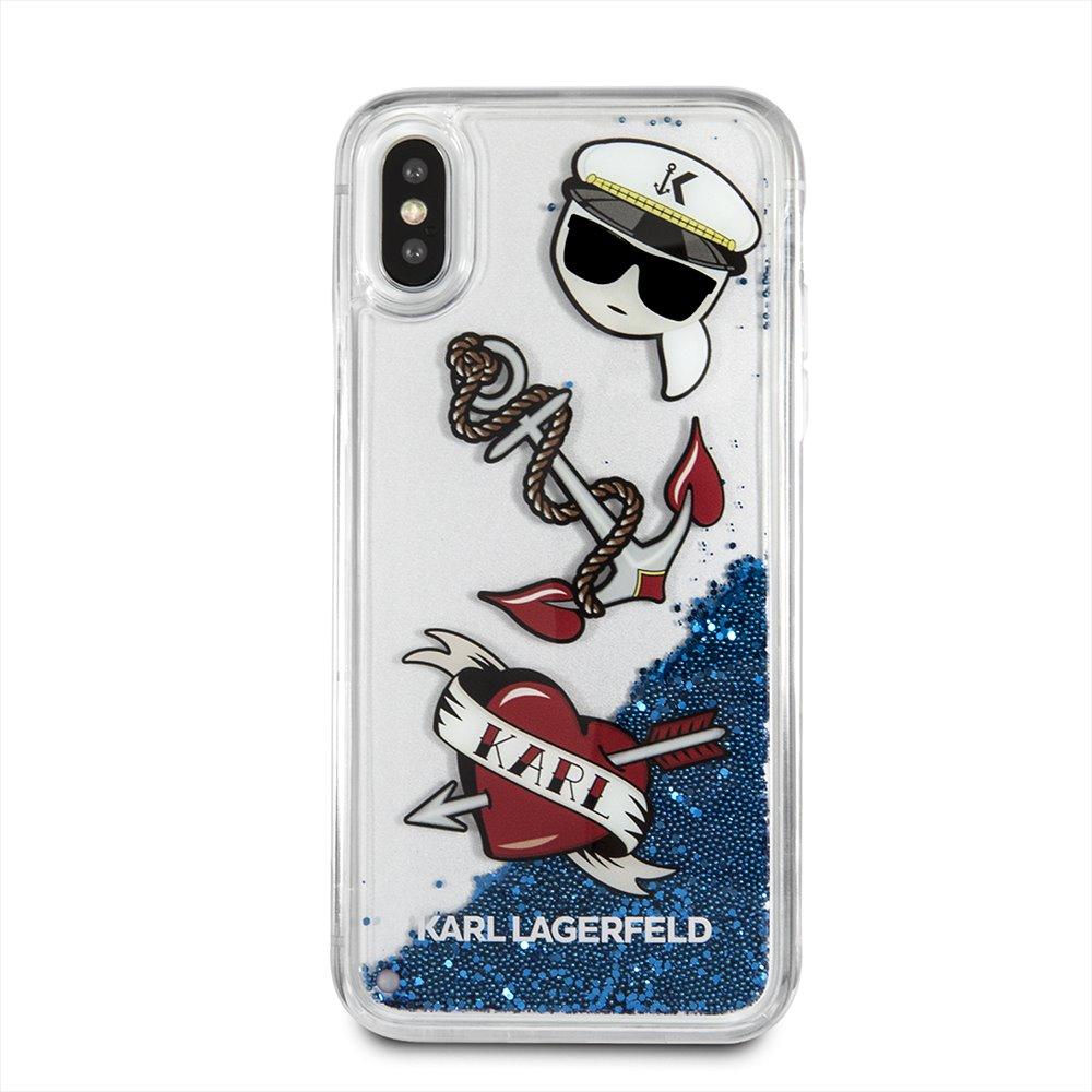 Silikonové pouzdro Karl Lagerfeld Karl Captain Carl Liquid Glitter Case na iPhone X, Blue