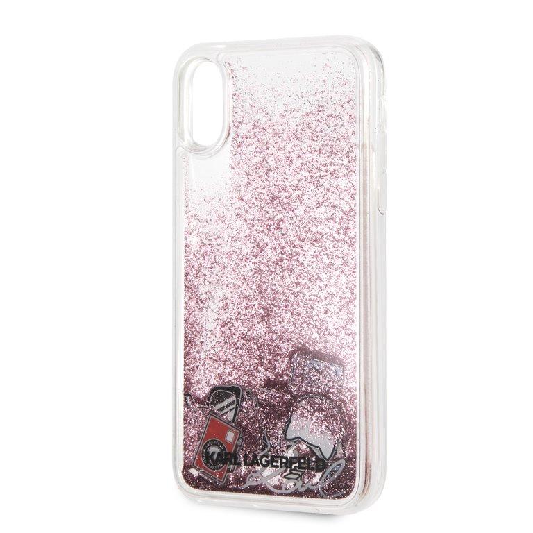 Silikonové pouzdro Karl Lagerfeld Karl Iconic Liquid Glitter na iPhone XR, Gold