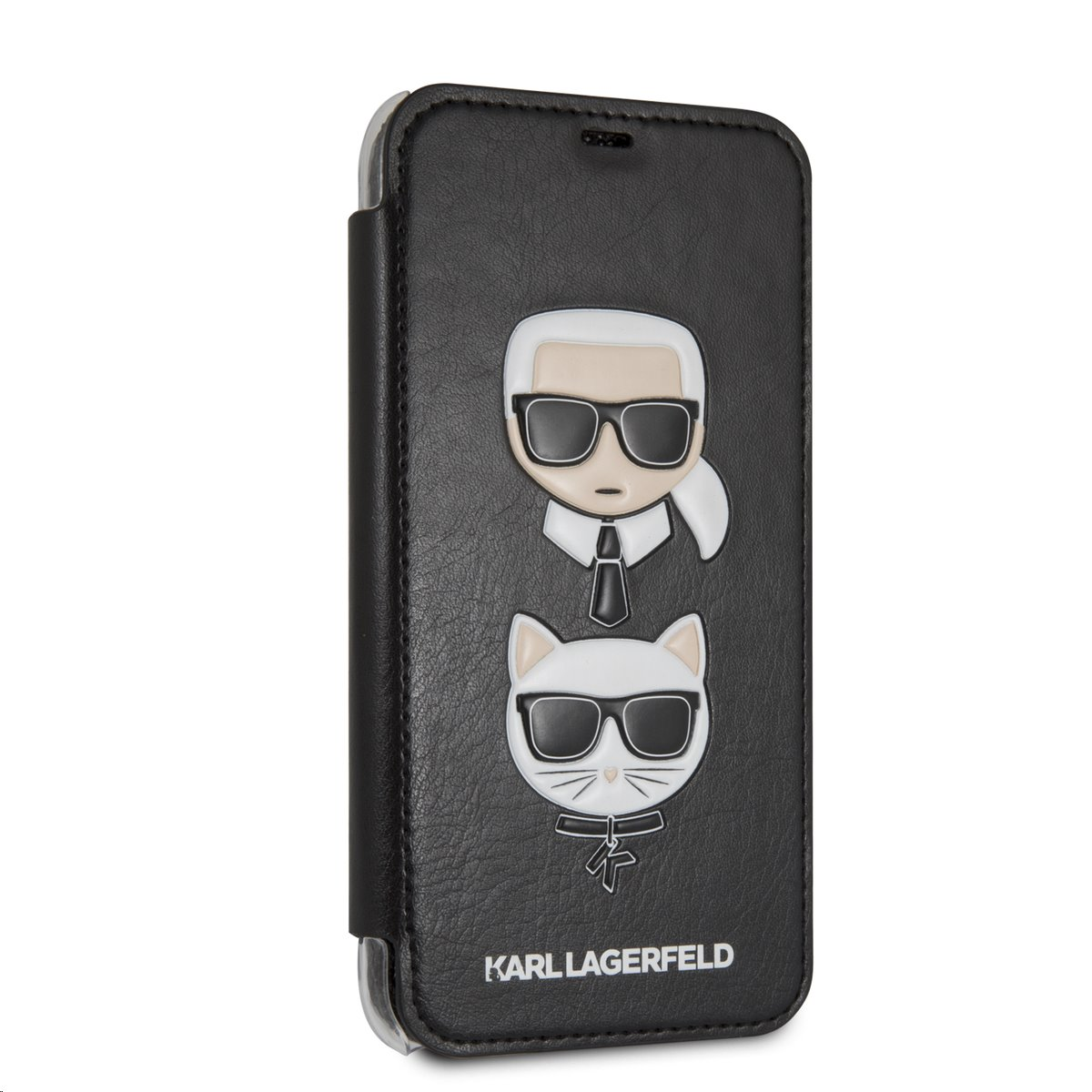 Pouzdro book Karl Lagerfeld Karl and Choupette na iPhone XR, Black