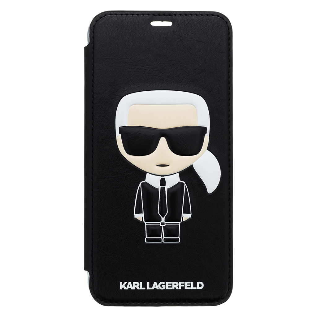 Pouzdro book Karl Lagerfeld Ikonik Book Case na iPhone XS Max, Black