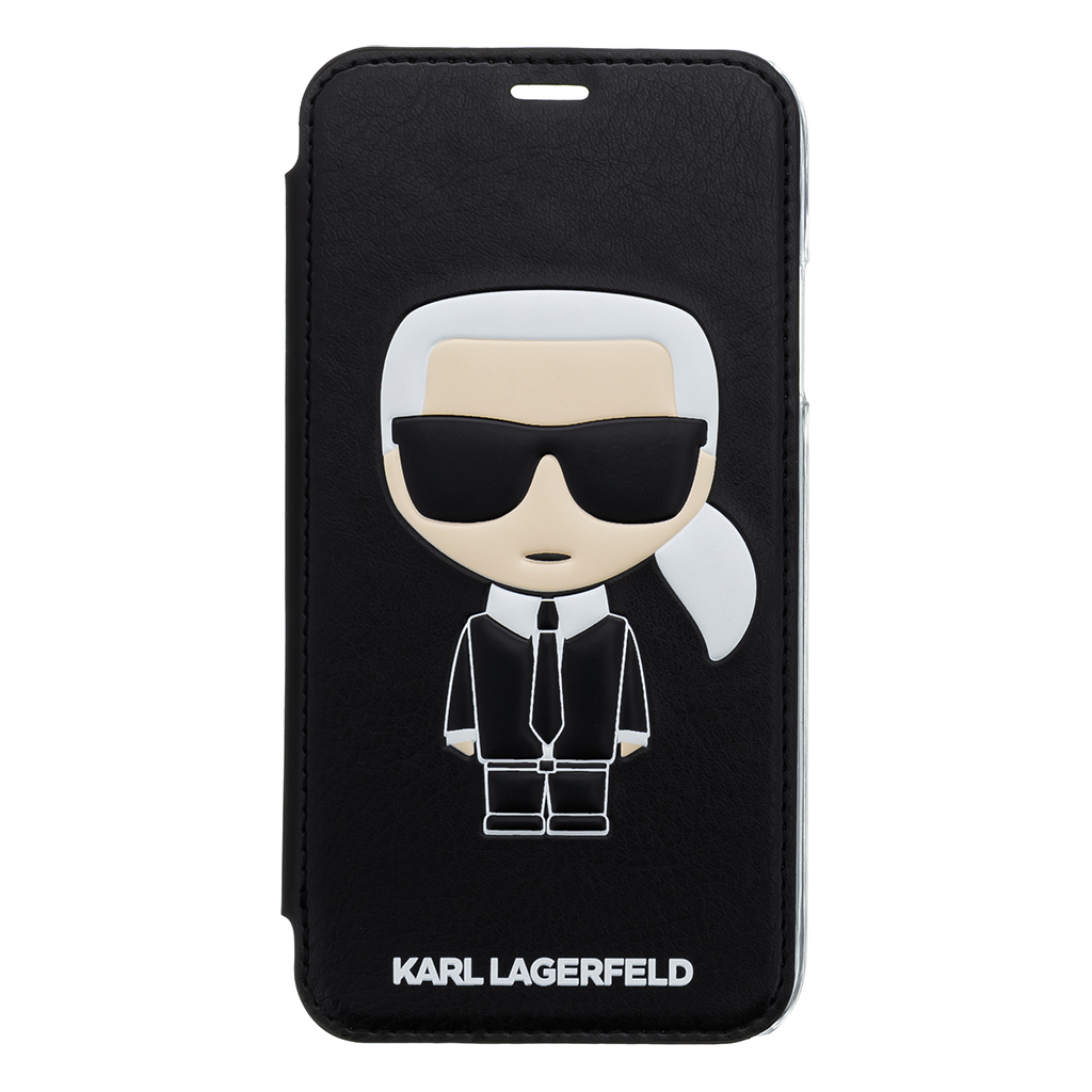 Pouzdro book Karl Lagerfeld Ikonik Case na iPhone XR, Black