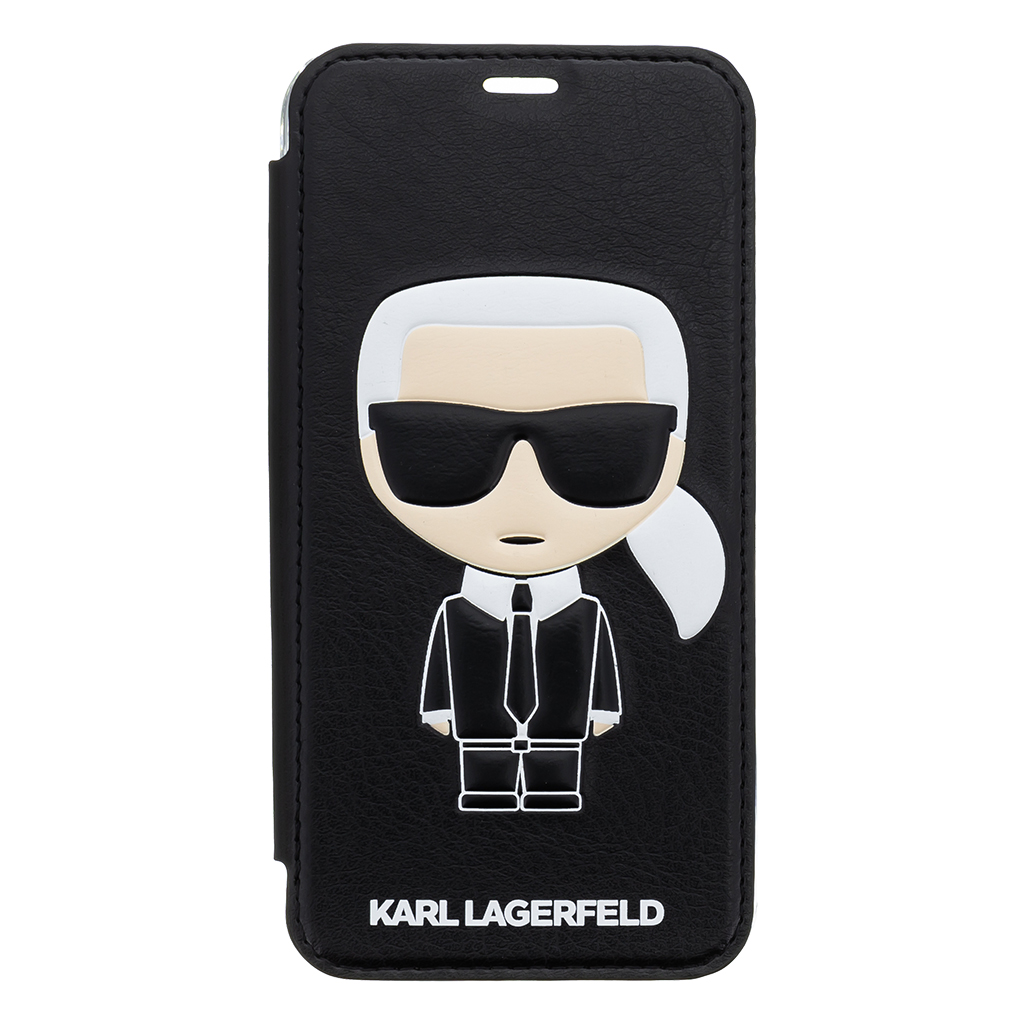 Pouzdro book Karl Lagerfeld Ikonik Case na iPhone X, Black