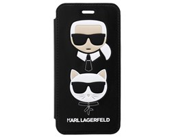 Pouzdro book Karl Lagerfeld Karl and Choupette na iPhone X, Black