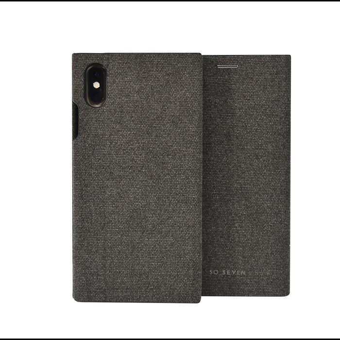 SoSeven Premium Gentleman Book Case Fabric Anthracite pro iPhone XS Max