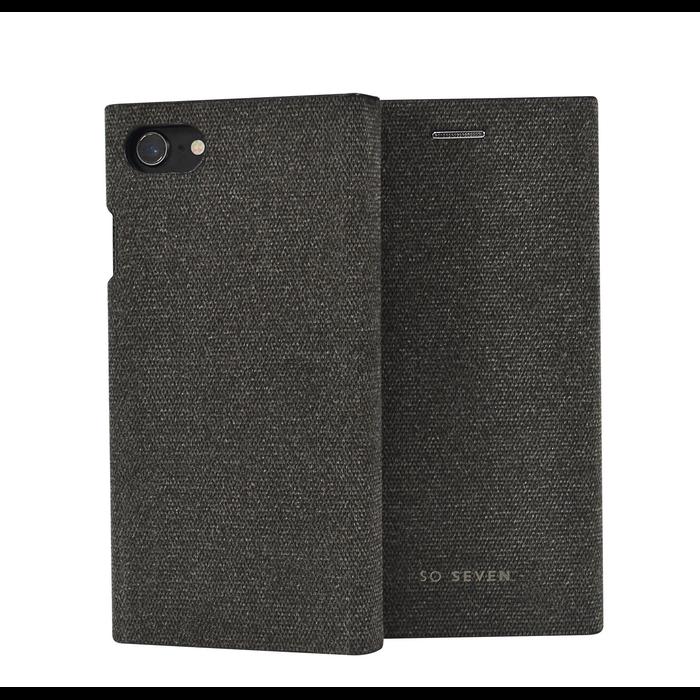 Pouzdro SoSeven Premium Gentleman Book Case Fabric Anthracite pro iPhone 6/6S/7/8 Plus