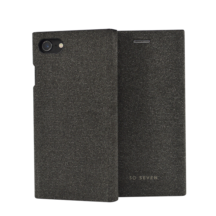 Pouzdro SoSeven Premium Gentleman Book Case Fabric Anthracite pro iPhone 6/6S/7/8