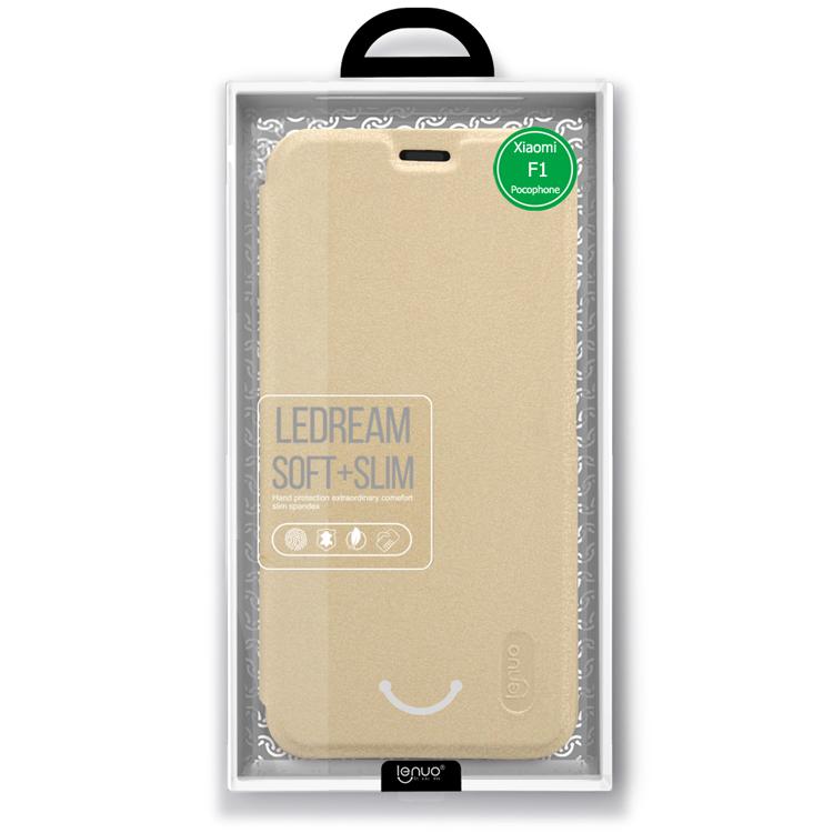 Flipové pouzdro Lenuo Ledream na Xiaomi Pocophone F1, Gold