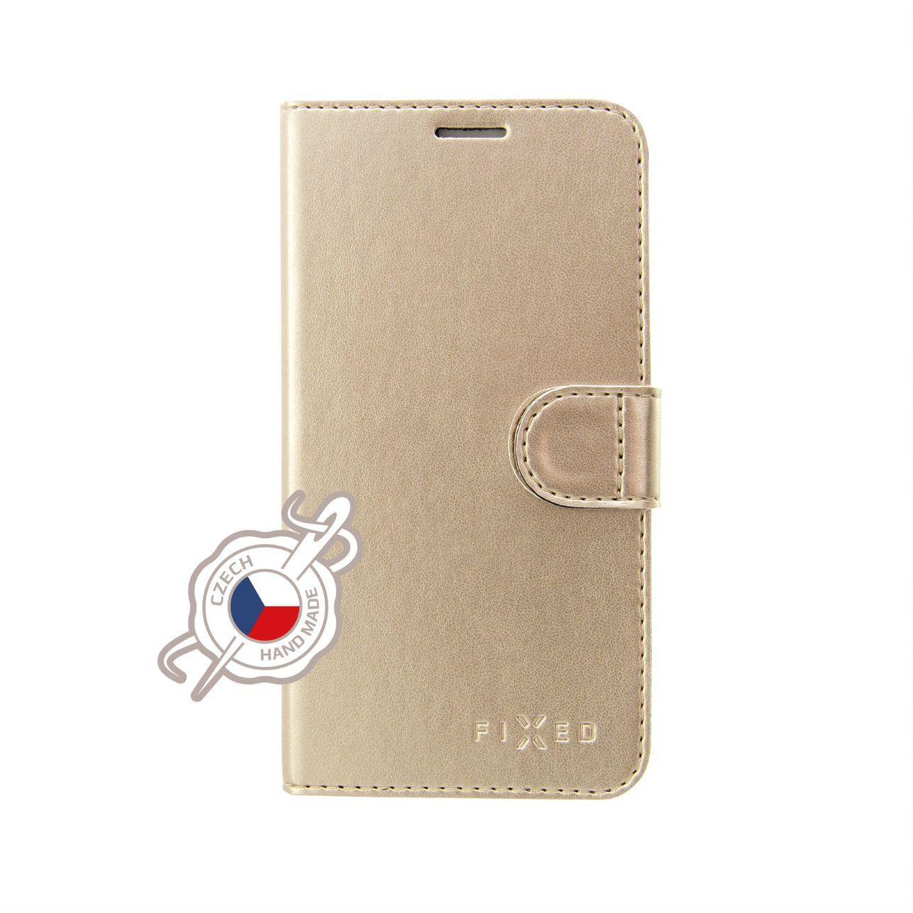 FIXED FIT SHINE flipové pouzdro pro Xiaomi Redmi Note 7/7 Pro, zlaté