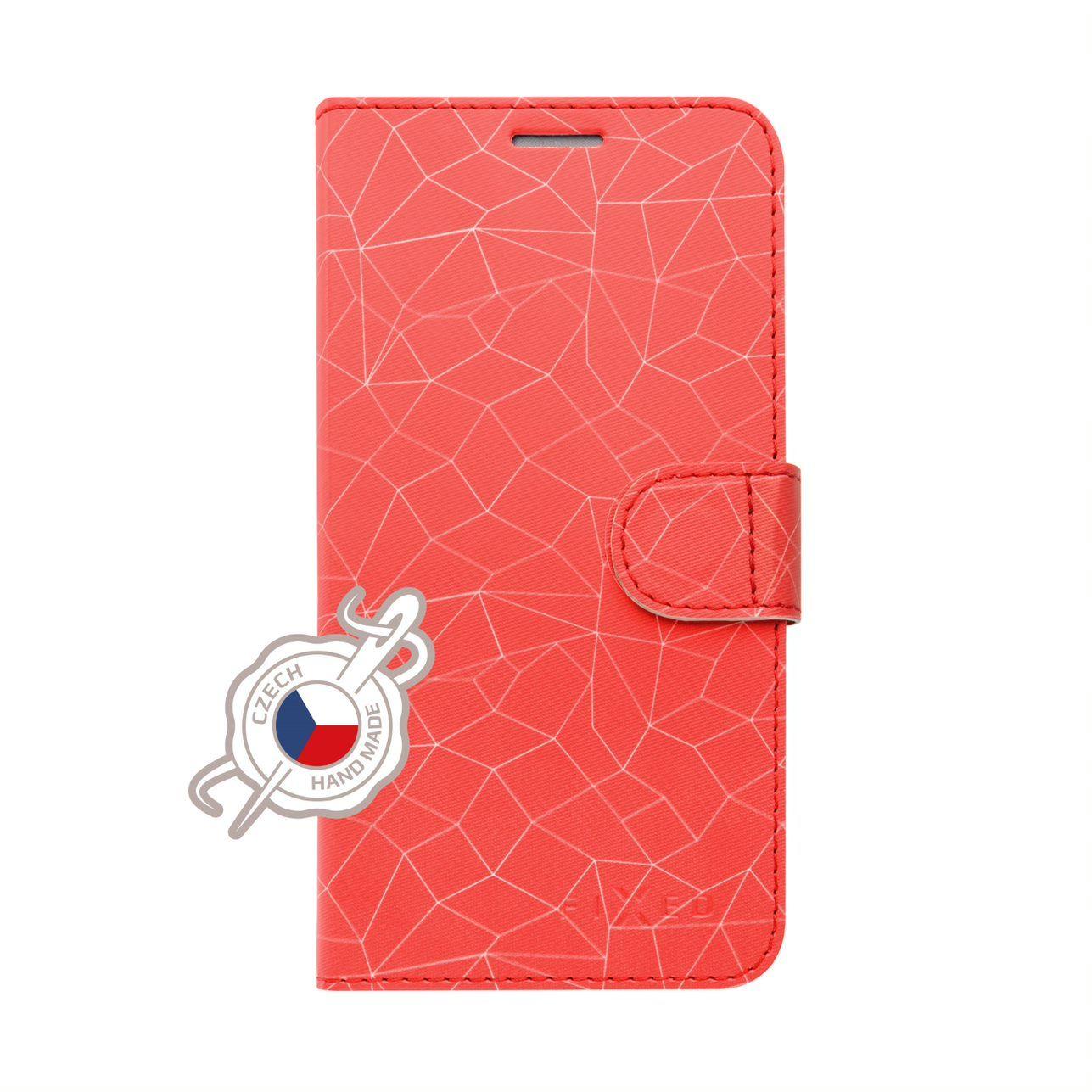 FIXED FIT flipové pouzdro pro Xiaomi Redmi Note 7/7 Pro, motiv Red Mesh